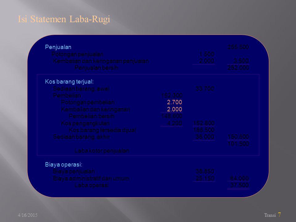 4/16/2015 Transi 7 Isi Statemen Laba-Rugi Penjualan Potongan penjualan Kembalian dan keringanan penjualan Penjualan bersih Kos barang terjual: Sediaan