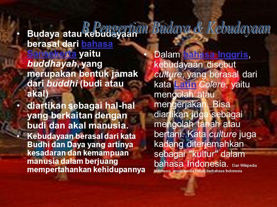 Budaya atau kebudayaan berasal dari bahasa Sansekerta yaitu buddhayah, yang merupakan bentuk jamak dari buddhi (budi atau akal)bahasa Sansekerta diart