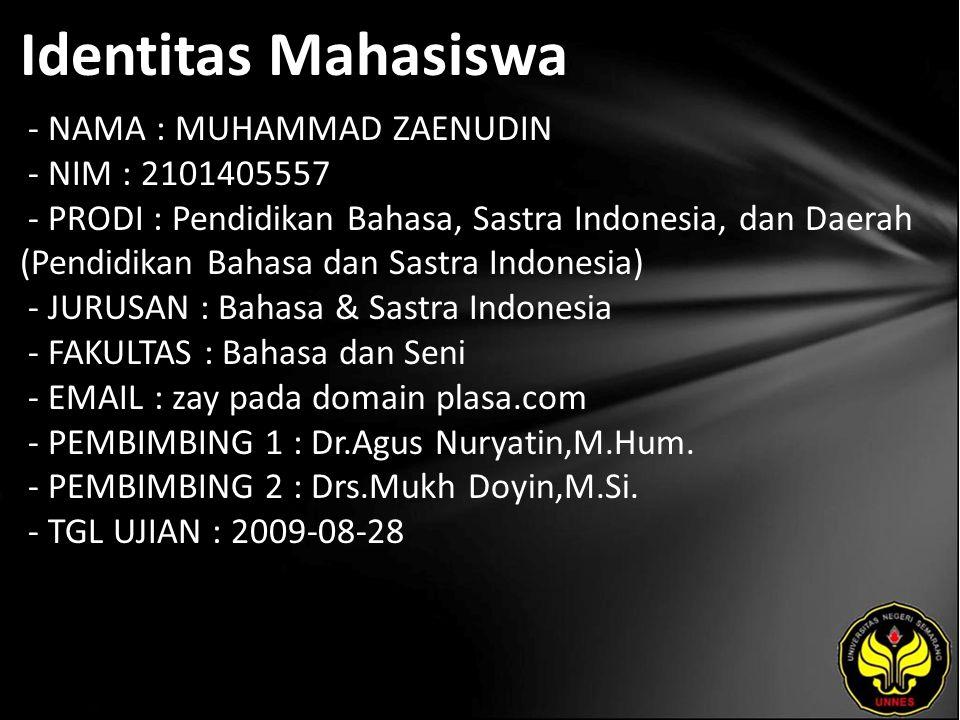 Identitas Mahasiswa - NAMA : MUHAMMAD ZAENUDIN - NIM : 2101405557 - PRODI : Pendidikan Bahasa, Sastra Indonesia, dan Daerah (Pendidikan Bahasa dan Sas