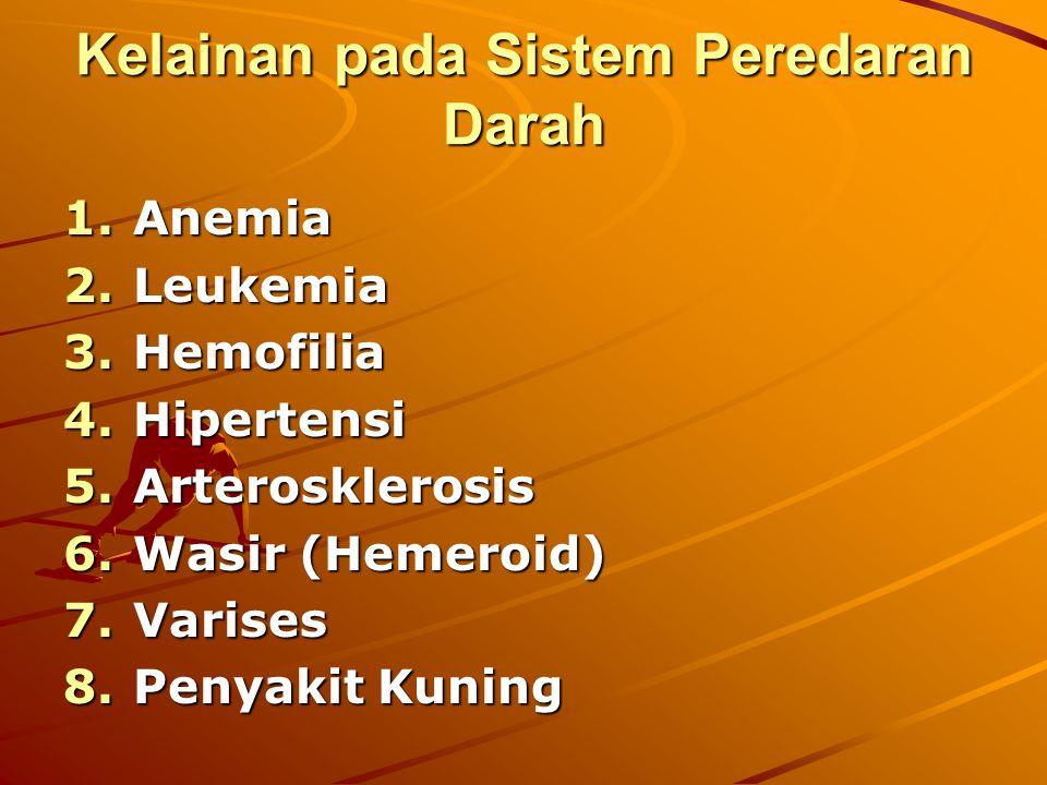 Kelainan pada Sistem Peredaran Darah 1.Anemia 2.Leukemia 3.Hemofilia 4.Hipertensi 5.Arterosklerosis 6.Wasir (Hemeroid) 7.Varises 8.Penyakit Kuning