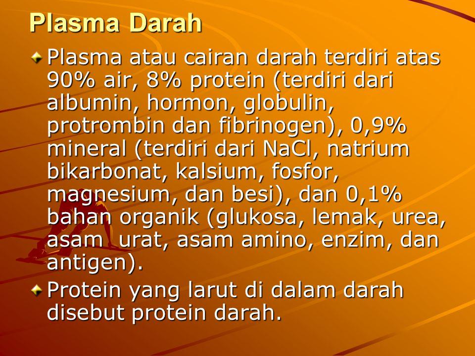 Plasma Darah Plasma atau cairan darah terdiri atas 90% air, 8% protein (terdiri dari albumin, hormon, globulin, protrombin dan fibrinogen), 0,9% miner
