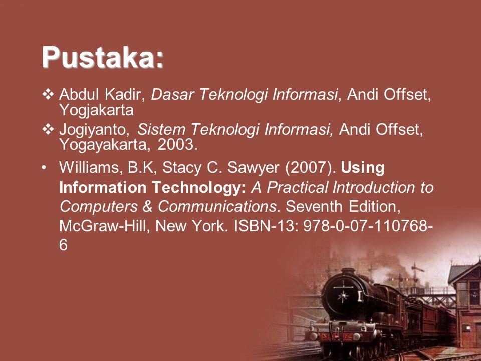 Pustaka:  Abdul Kadir, Dasar Teknologi Informasi, Andi Offset, Yogjakarta  Jogiyanto, Sistem Teknologi Informasi, Andi Offset, Yogayakarta, 2003. Wi