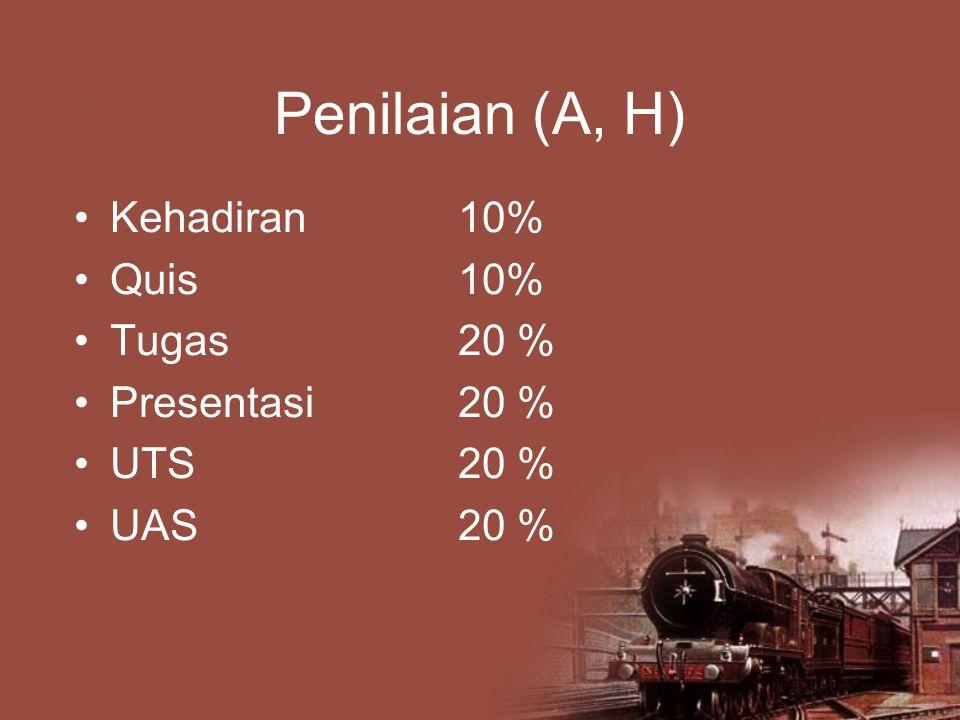 Penilaian (A, H) Kehadiran10% Quis10% Tugas20 % Presentasi20 % UTS20 % UAS20 %