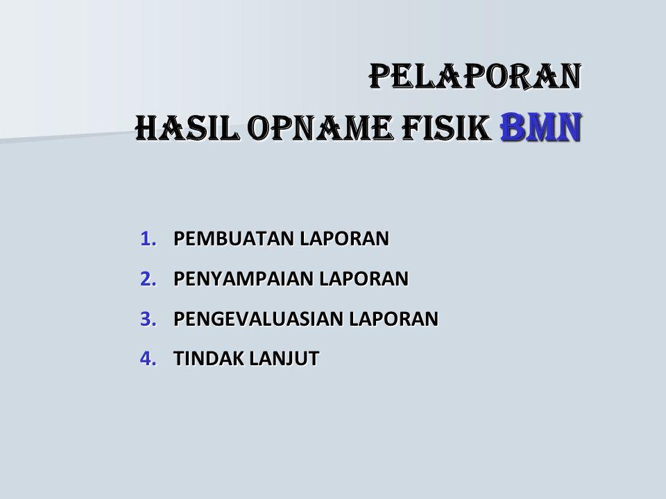 PELAKSANAAN OPNAME FISIK BMN 1.Penghitungan barang. 2.Penilaian kondisi dan nilai barang. 3.Pemberian nomor urut pendaftaran BMN. 4.Pengumpulan dan pe