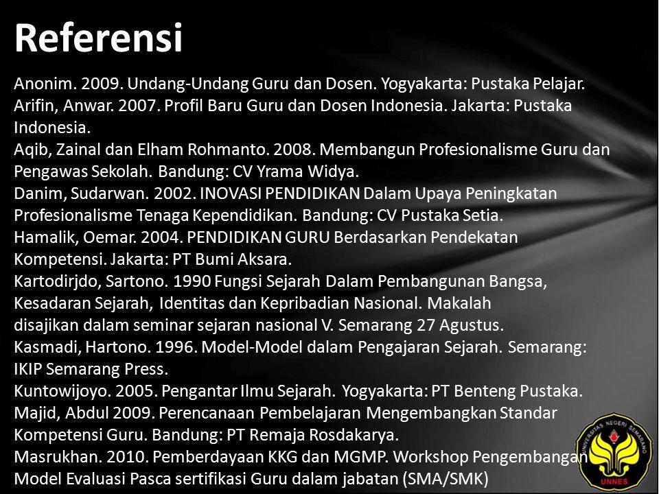 Referensi Anonim. 2009. Undang-Undang Guru dan Dosen.