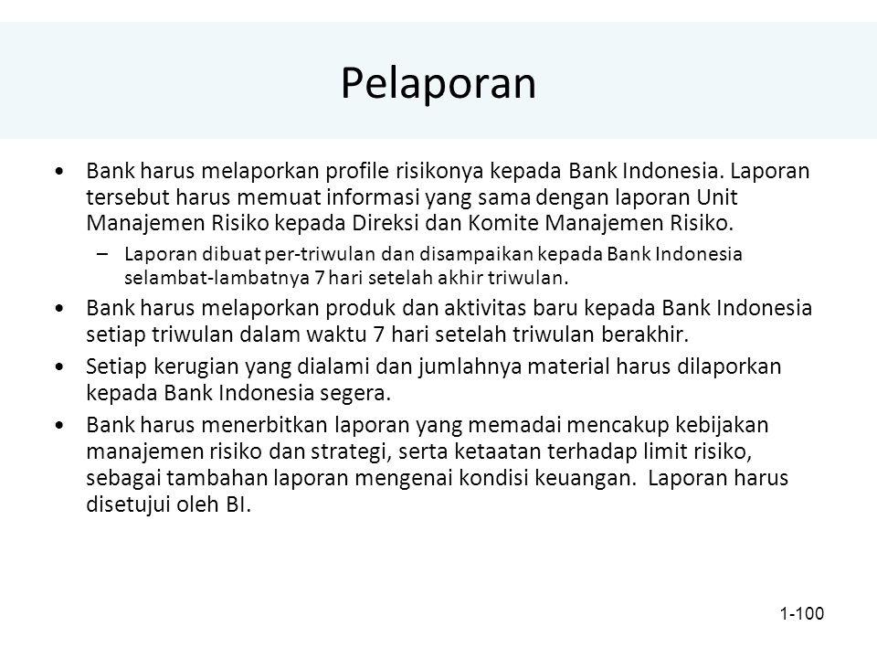 1-100 Pelaporan Bank harus melaporkan profile risikonya kepada Bank Indonesia.
