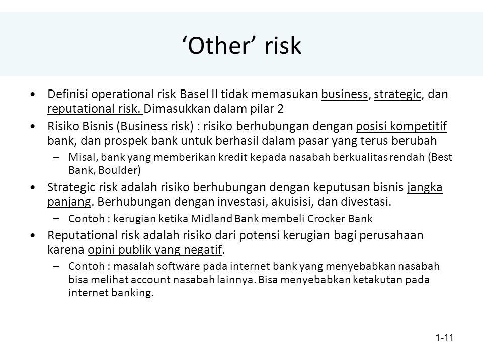 1-11 'Other' risk Definisi operational risk Basel II tidak memasukan business, strategic, dan reputational risk. Dimasukkan dalam pilar 2 Risiko Bisni