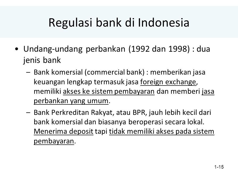 1-15 Regulasi bank di Indonesia Undang-undang perbankan (1992 dan 1998) : dua jenis bank –Bank komersial (commercial bank) : memberikan jasa keuangan lengkap termasuk jasa foreign exchange, memiliki akses ke sistem pembayaran dan memberi jasa perbankan yang umum.