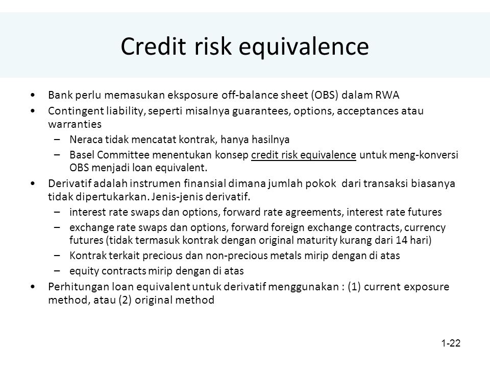1-22 Credit risk equivalence Bank perlu memasukan eksposure off-balance sheet (OBS) dalam RWA Contingent liability, seperti misalnya guarantees, optio