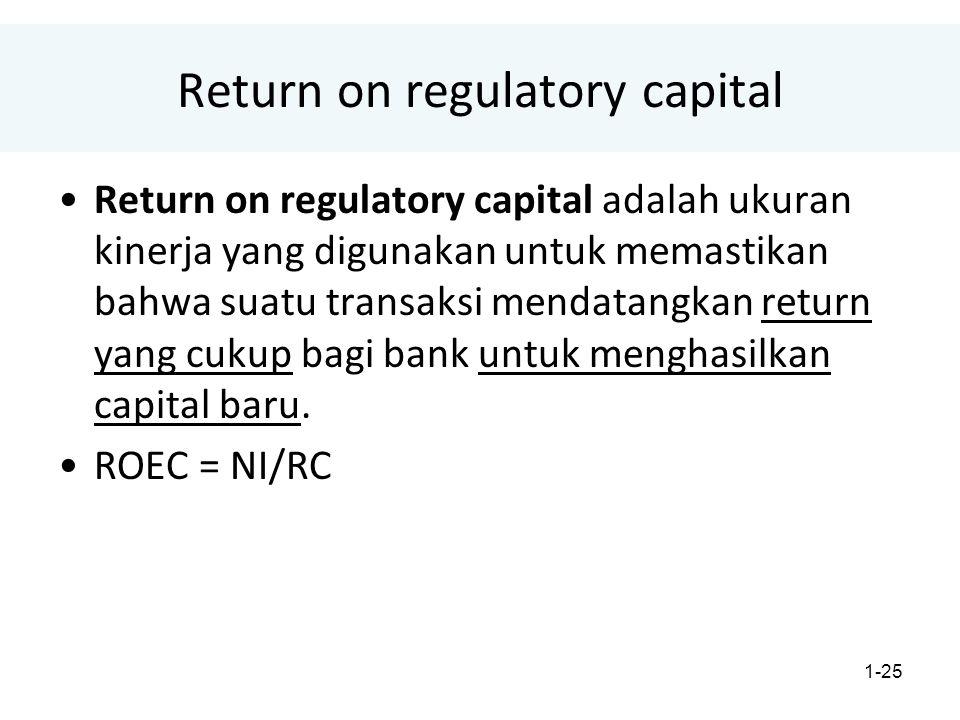 1-25 Return on regulatory capital Return on regulatory capital adalah ukuran kinerja yang digunakan untuk memastikan bahwa suatu transaksi mendatangkan return yang cukup bagi bank untuk menghasilkan capital baru.