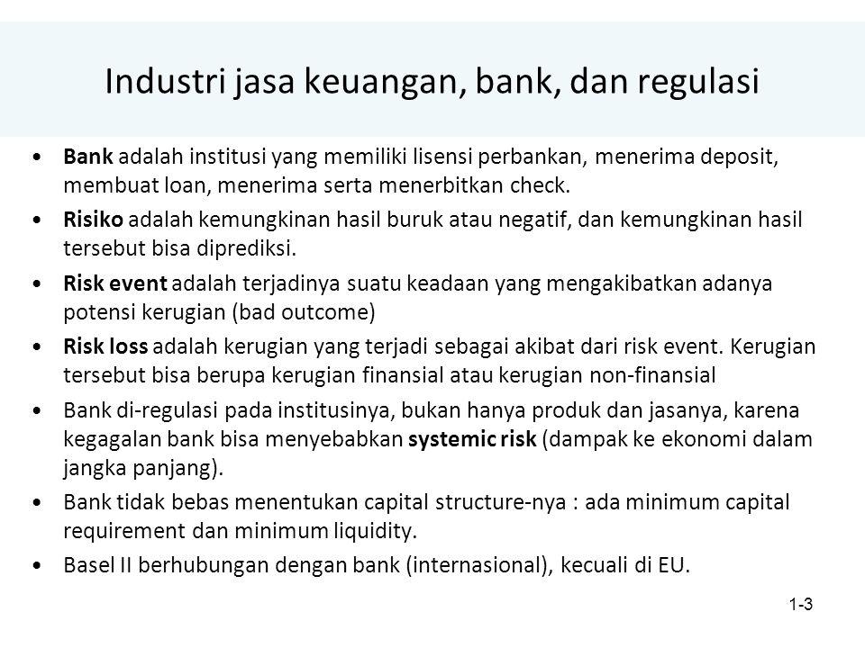 1-3 Industri jasa keuangan, bank, dan regulasi Bank adalah institusi yang memiliki lisensi perbankan, menerima deposit, membuat loan, menerima serta menerbitkan check.