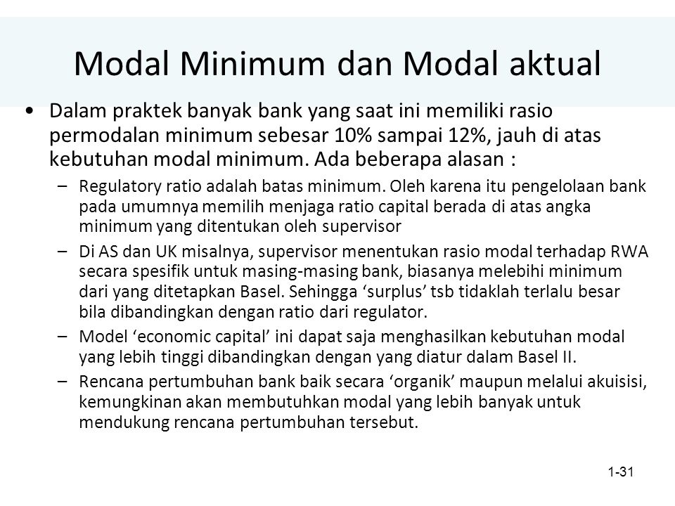 1-31 Modal Minimum dan Modal aktual Dalam praktek banyak bank yang saat ini memiliki rasio permodalan minimum sebesar 10% sampai 12%, jauh di atas kebutuhan modal minimum.