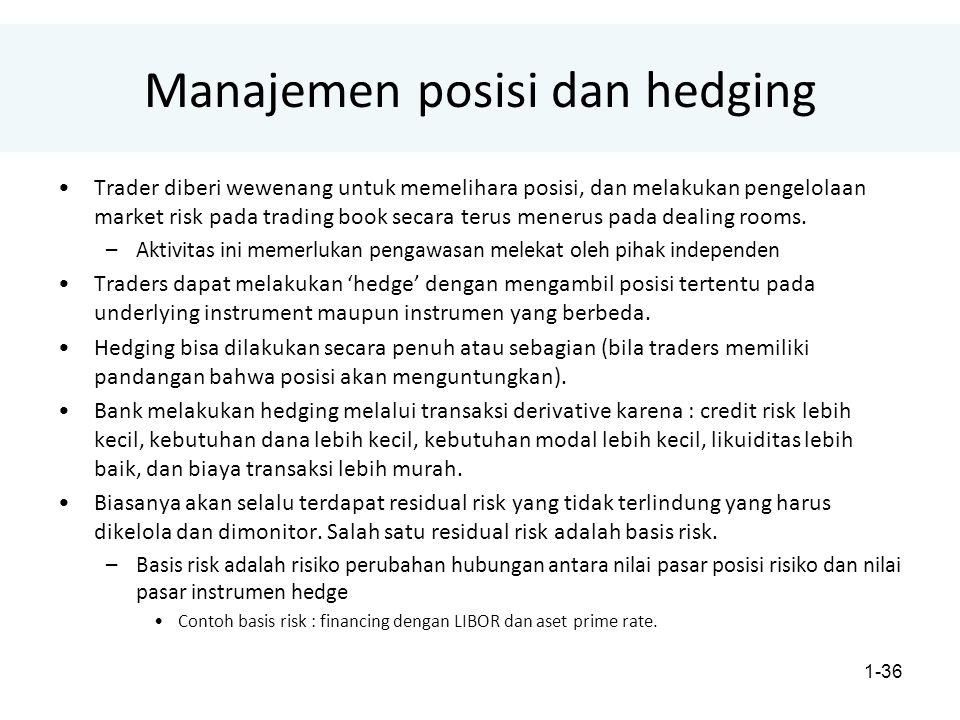 1-36 Manajemen posisi dan hedging Trader diberi wewenang untuk memelihara posisi, dan melakukan pengelolaan market risk pada trading book secara terus menerus pada dealing rooms.