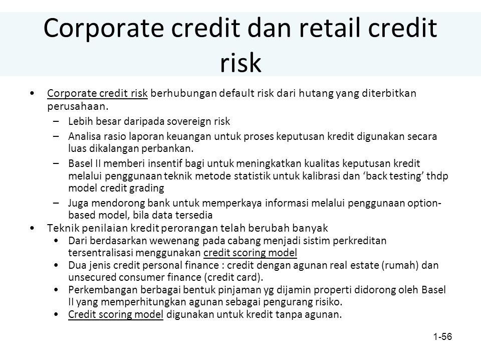 1-56 Corporate credit dan retail credit risk Corporate credit risk berhubungan default risk dari hutang yang diterbitkan perusahaan.