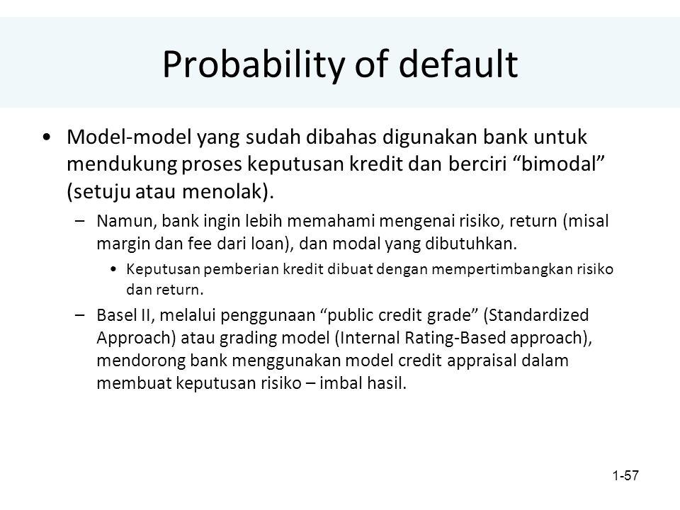 1-57 Probability of default Model-model yang sudah dibahas digunakan bank untuk mendukung proses keputusan kredit dan berciri bimodal (setuju atau menolak).