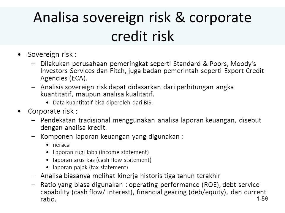 1-59 Analisa sovereign risk & corporate credit risk Sovereign risk : –Dilakukan perusahaan pemeringkat seperti Standard & Poors, Moody s Investors Services dan Fitch, juga badan pemerintah seperti Export Credit Agencies (ECA).