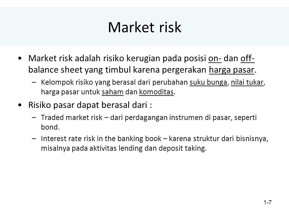 1-7 Market risk Market risk adalah risiko kerugian pada posisi on- dan off- balance sheet yang timbul karena pergerakan harga pasar.