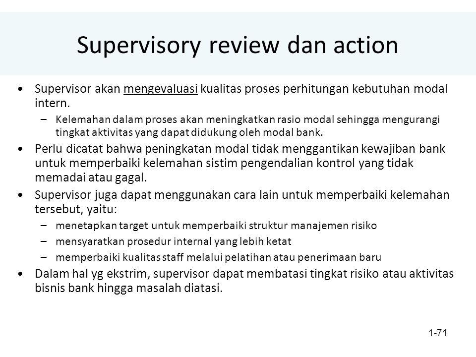 1-71 Supervisory review dan action Supervisor akan mengevaluasi kualitas proses perhitungan kebutuhan modal intern.