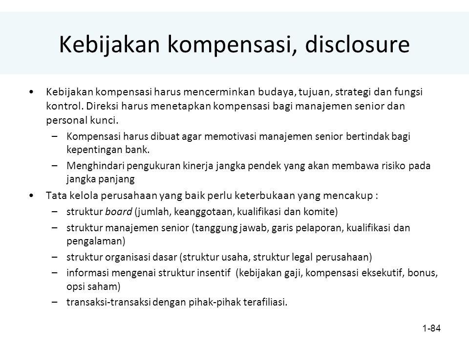 1-84 Kebijakan kompensasi, disclosure Kebijakan kompensasi harus mencerminkan budaya, tujuan, strategi dan fungsi kontrol.