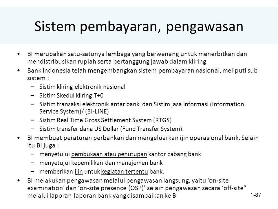 1-87 Sistem pembayaran, pengawasan BI merupakan satu-satunya lembaga yang berwenang untuk menerbitkan dan mendistribusikan rupiah serta bertanggung jawab dalam kliring Bank Indonesia telah mengembangkan sistem pembayaran nasional, meliputi sub sistem : –Sistim kliring elektronik nasional –Sistim Skedul kliring T+0 –Sistim transaksi elektronik antar bank dan Sistim jasa informasi (Information Service System)/ (BI-LINE) –Sistim Real Time Gross Settlement System (RTGS) –Sistim transfer dana US Dollar (Fund Transfer System).
