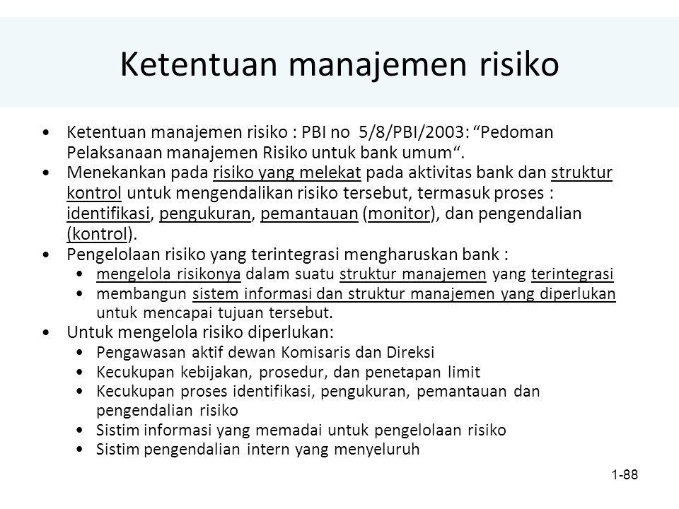 1-88 Ketentuan manajemen risiko Ketentuan manajemen risiko : PBI no 5/8/PBI/2003: Pedoman Pelaksanaan manajemen Risiko untuk bank umum .