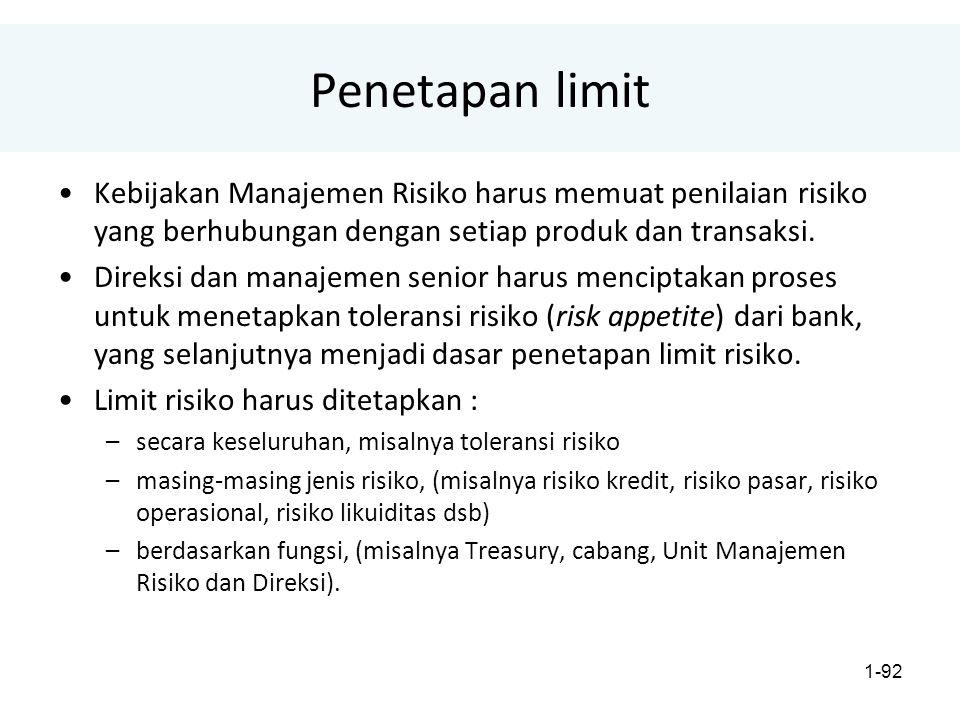 1-92 Penetapan limit Kebijakan Manajemen Risiko harus memuat penilaian risiko yang berhubungan dengan setiap produk dan transaksi.