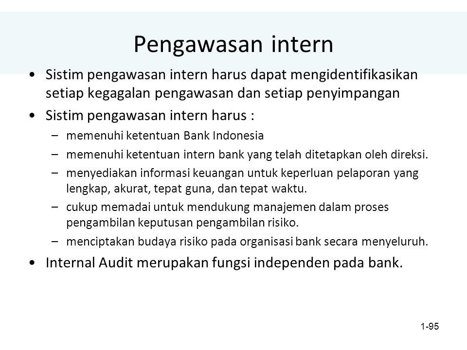 1-95 Pengawasan intern Sistim pengawasan intern harus dapat mengidentifikasikan setiap kegagalan pengawasan dan setiap penyimpangan Sistim pengawasan intern harus : –memenuhi ketentuan Bank Indonesia –memenuhi ketentuan intern bank yang telah ditetapkan oleh direksi.