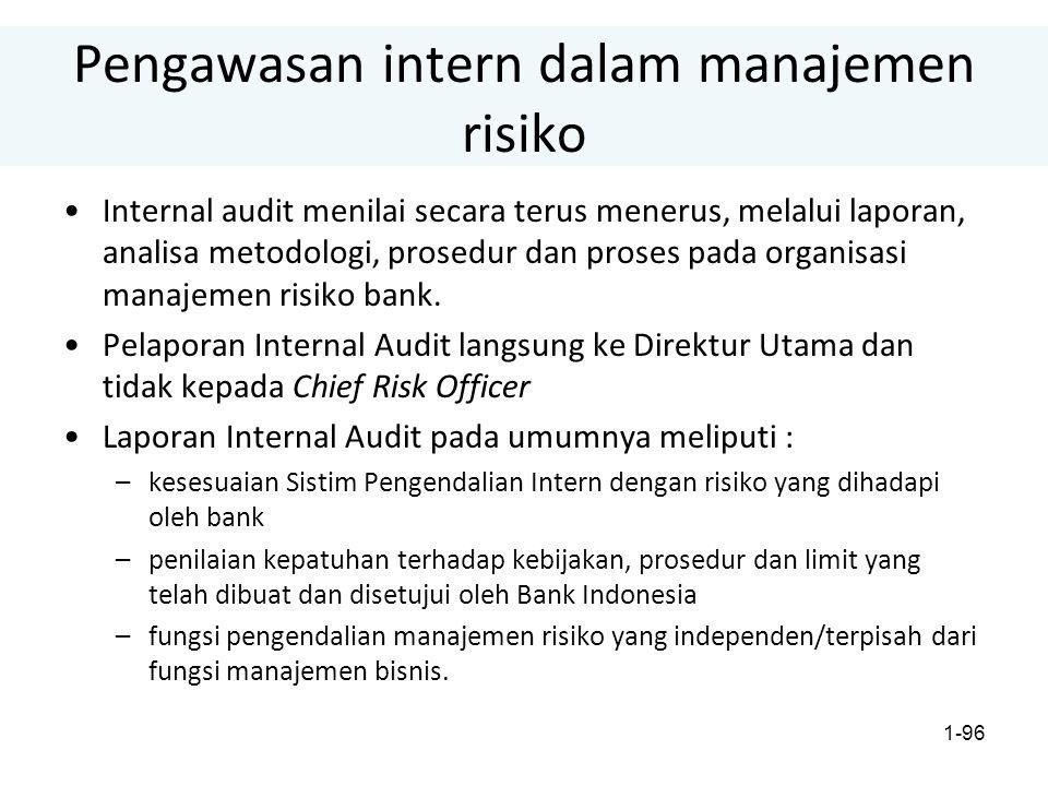 1-96 Pengawasan intern dalam manajemen risiko Internal audit menilai secara terus menerus, melalui laporan, analisa metodologi, prosedur dan proses pada organisasi manajemen risiko bank.