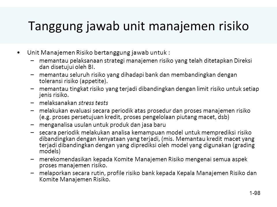 1-98 Tanggung jawab unit manajemen risiko Unit Manajemen Risiko bertanggung jawab untuk : –memantau pelaksanaan strategi manajemen risiko yang telah ditetapkan Direksi dan disetujui oleh BI.