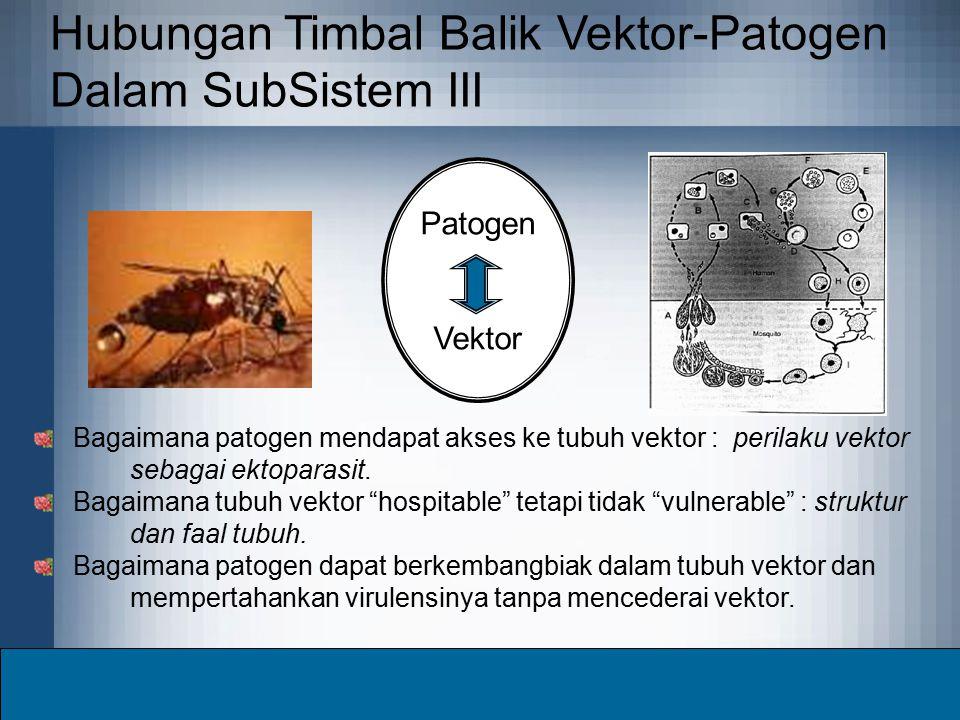 Hubungan Timbal Balik Vektor-Patogen Dalam SubSistem III Patogen Vektor Bagaimana patogen mendapat akses ke tubuh vektor : perilaku vektor sebagai ekt