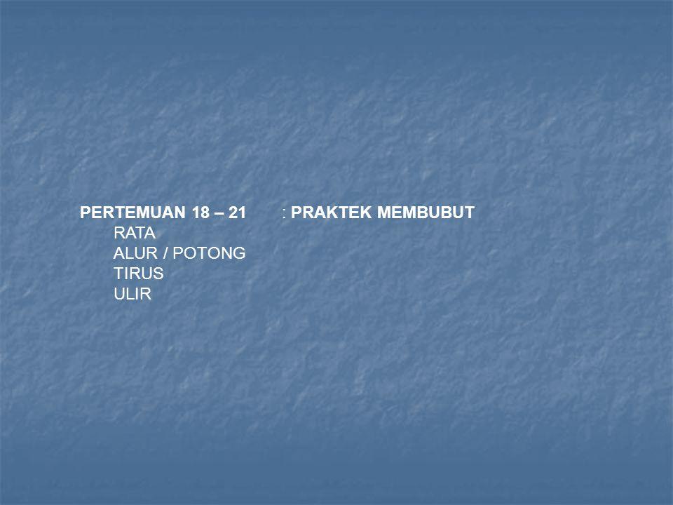 PERTEMUAN 18 – 21: PRAKTEK MEMBUBUT RATA ALUR / POTONG TIRUS ULIR