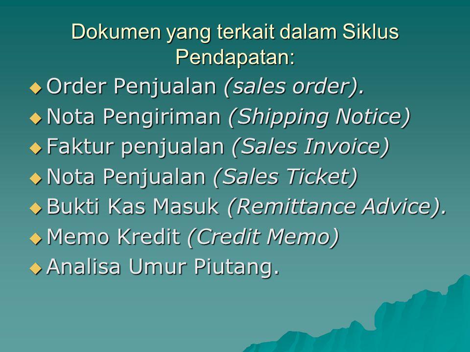 Dokumen yang terkait dalam Siklus Pendapatan:  Order Penjualan (sales order).