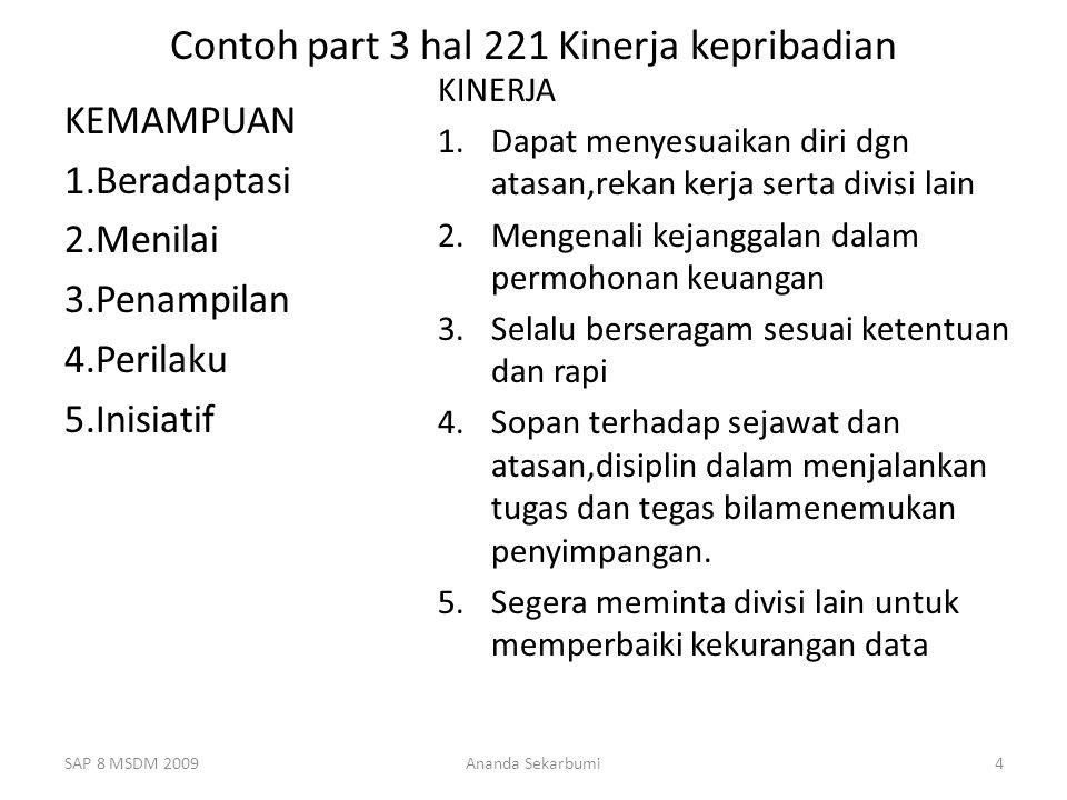 Contoh part 3 hal 221 Kinerja kepribadian KEMAMPUAN 1.Beradaptasi 2.Menilai 3.Penampilan 4.Perilaku 5.Inisiatif KINERJA 1.Dapat menyesuaikan diri dgn atasan,rekan kerja serta divisi lain 2.Mengenali kejanggalan dalam permohonan keuangan 3.Selalu berseragam sesuai ketentuan dan rapi 4.Sopan terhadap sejawat dan atasan,disiplin dalam menjalankan tugas dan tegas bilamenemukan penyimpangan.