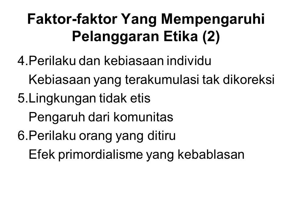 Faktor-faktor Yang Mempengaruhi Pelanggaran Etika (2) 4.Perilaku dan kebiasaan individu Kebiasaan yang terakumulasi tak dikoreksi 5.Lingkungan tidak etis Pengaruh dari komunitas 6.Perilaku orang yang ditiru Efek primordialisme yang kebablasan