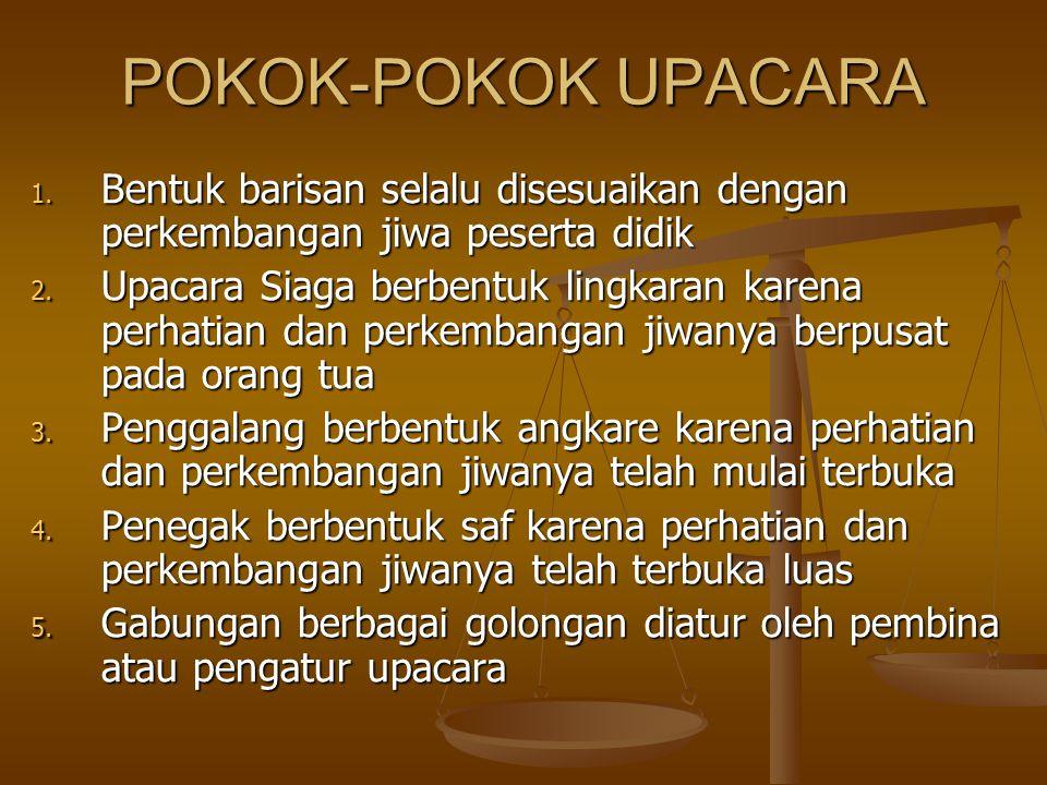 POKOK-POKOK UPACARA 1.Bentuk barisan selalu disesuaikan dengan perkembangan jiwa peserta didik 2.