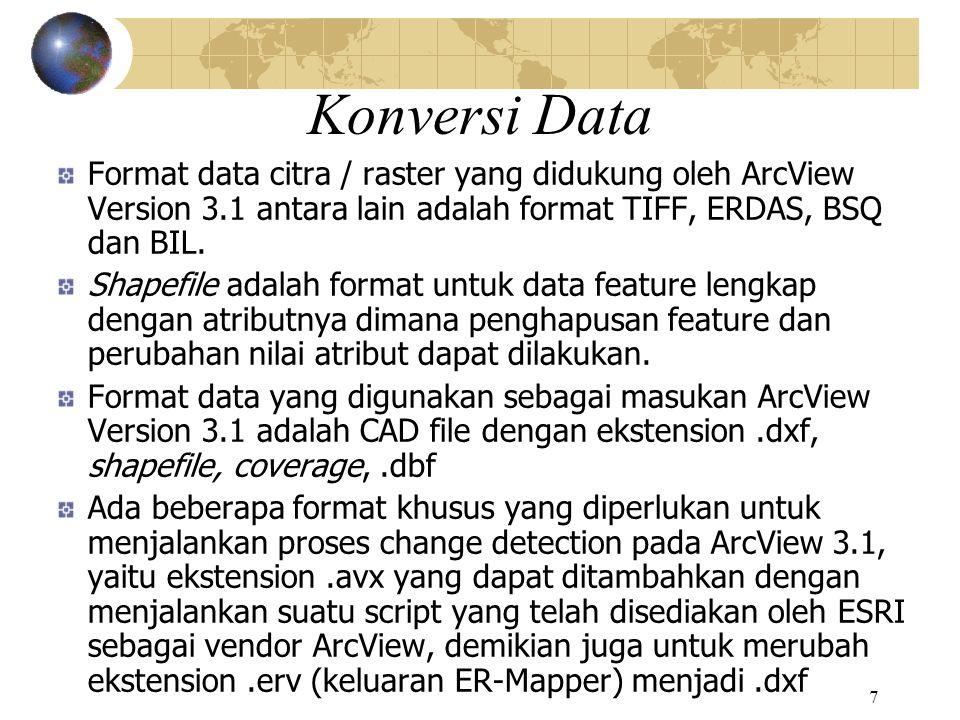 8 Konversi Data (lanjutan) Konversi data dilakukan dari bentuk raster citra tematik tahun 1994 dan 1999 ke bentuk vektor seperti peta dijital tahun 1998 yang sudah dibangun dan dapat dianalisis dengan software ArcView Vektorisasi citra raster tematik dalam format.ers dilakukan dengan software ER-Mapper ke data vektor per layer obyek (ada 6 obyek) dalam format.erv yang kemudian dengan script Yang disediakan ESRI diubah ke format.dxf (vektor polyline) yang dapat dibaca oleh ArcView.