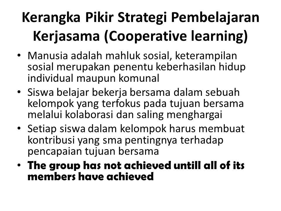Kerangka Pikir Strategi Pembelajaran Kerjasama (Cooperative learning) Manusia adalah mahluk sosial, keterampilan sosial merupakan penentu keberhasilan