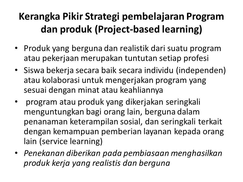 Kerangka Pikir Strategi pembelajaran Program dan produk (Project-based learning) Produk yang berguna dan realistik dari suatu program atau pekerjaan m