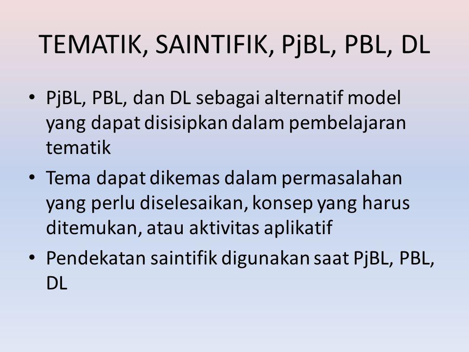 TEMATIK, SAINTIFIK, PjBL, PBL, DL PjBL, PBL, dan DL sebagai alternatif model yang dapat disisipkan dalam pembelajaran tematik Tema dapat dikemas dalam permasalahan yang perlu diselesaikan, konsep yang harus ditemukan, atau aktivitas aplikatif Pendekatan saintifik digunakan saat PjBL, PBL, DL