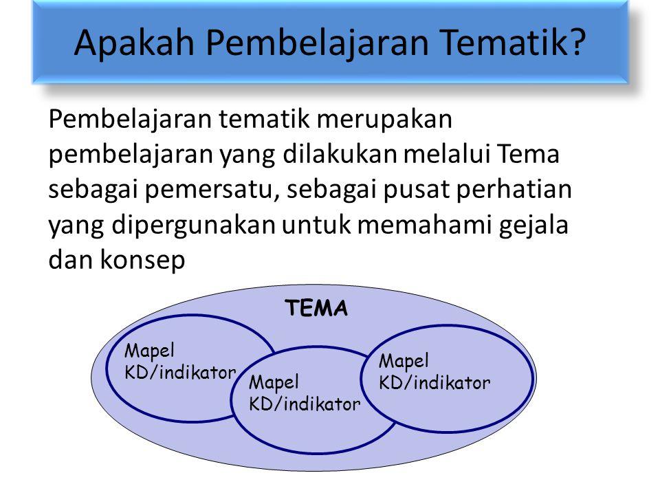 Apakah Pembelajaran Tematik? Pembelajaran tematik merupakan pembelajaran yang dilakukan melalui Tema sebagai pemersatu, sebagai pusat perhatian yang d