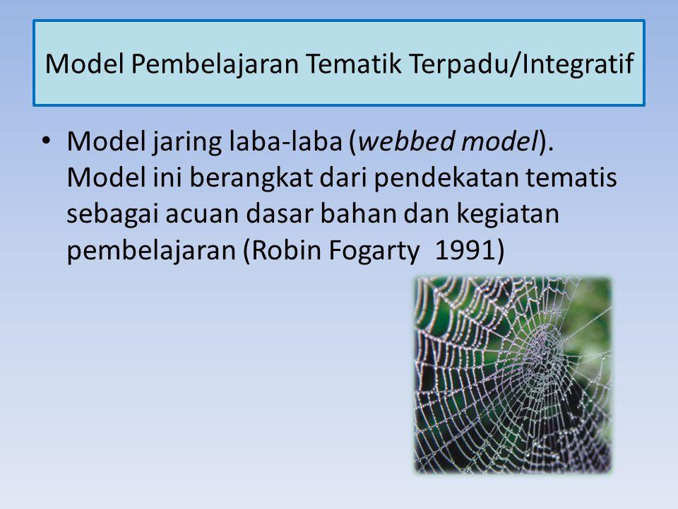 Model Pembelajaran Tematik Terpadu/Integratif Model jaring laba-laba (webbed model). Model ini berangkat dari pendekatan tematis sebagai acuan dasar b
