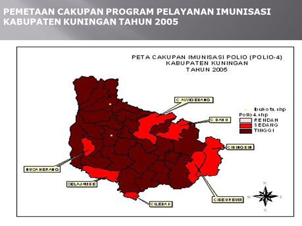 PEMETAAN CAKUPAN PROGRAM PELAYANAN IMUNISASI KABUPATEN KUNINGAN TAHUN 2005