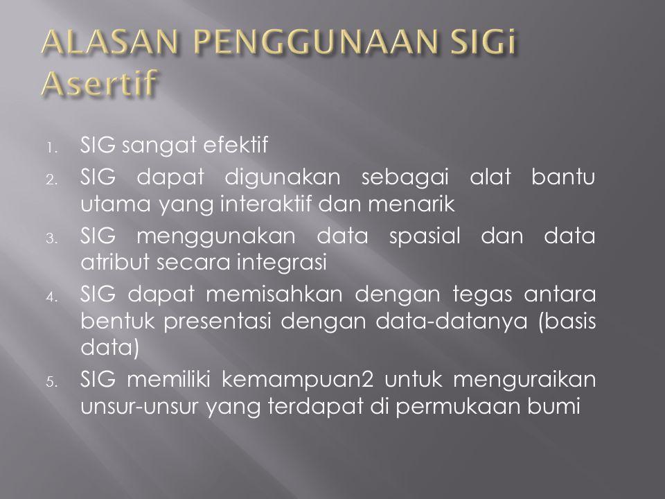 1. SIG sangat efektif 2. SIG dapat digunakan sebagai alat bantu utama yang interaktif dan menarik 3. SIG menggunakan data spasial dan data atribut sec