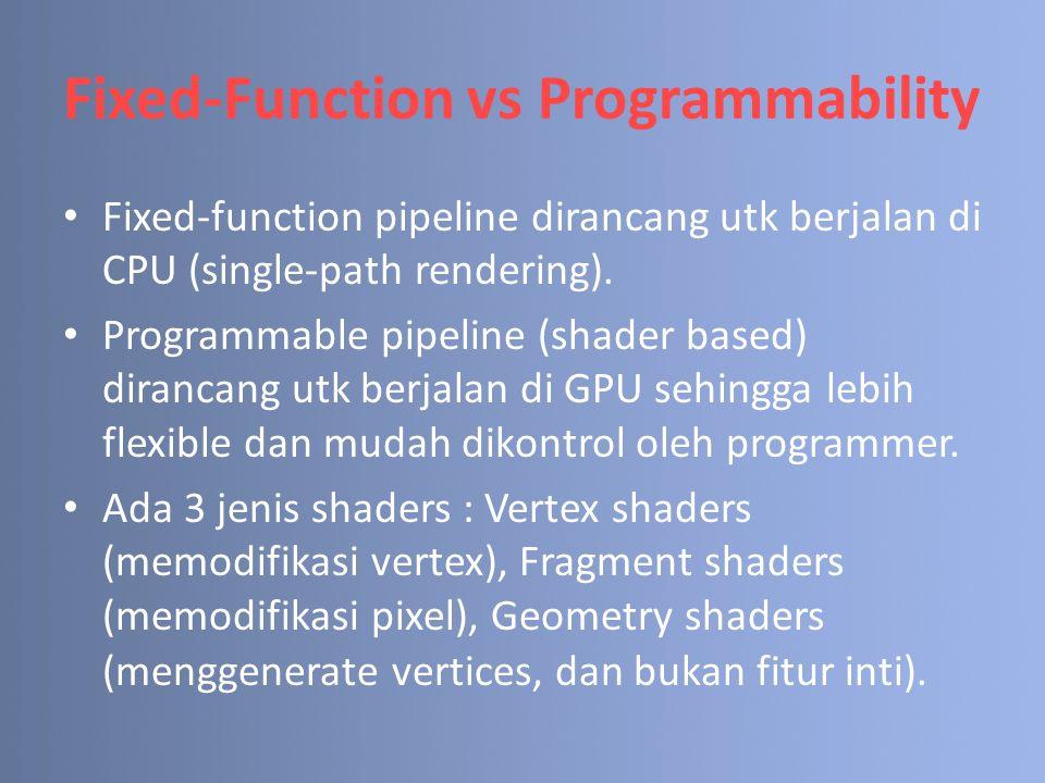 Fixed-Function vs Programmability Fixed-function pipeline dirancang utk berjalan di CPU (single-path rendering).