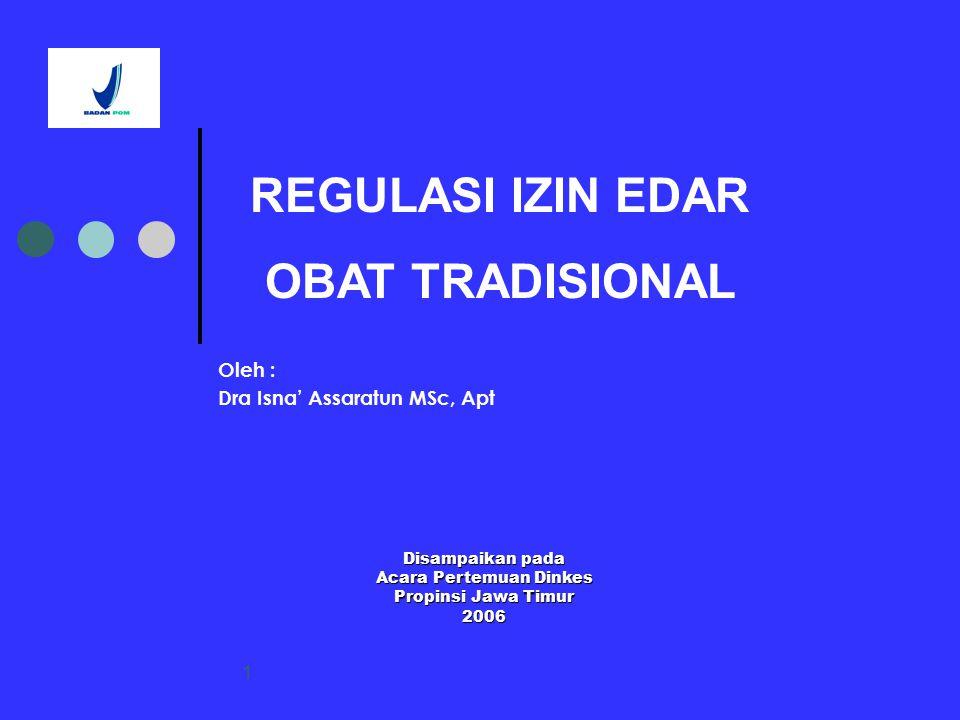 1 Oleh : Dra Isna' Assaratun MSc, Apt REGULASI IZIN EDAR OBAT TRADISIONAL Disampaikan pada Acara Pertemuan Dinkes Propinsi Jawa Timur 2006