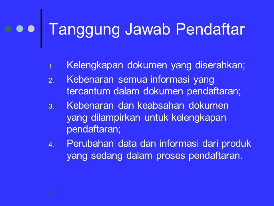 12 Tanggung Jawab Pendaftar 1. Kelengkapan dokumen yang diserahkan; 2. Kebenaran semua informasi yang tercantum dalam dokumen pendaftaran; 3. Kebenara