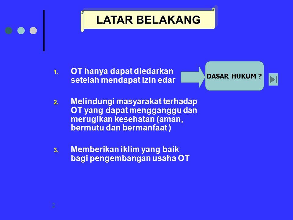 2 1. OT hanya dapat diedarkan setelah mendapat izin edar 2. Melindungi masyarakat terhadap OT yang dapat mengganggu dan merugikan kesehatan (aman, ber