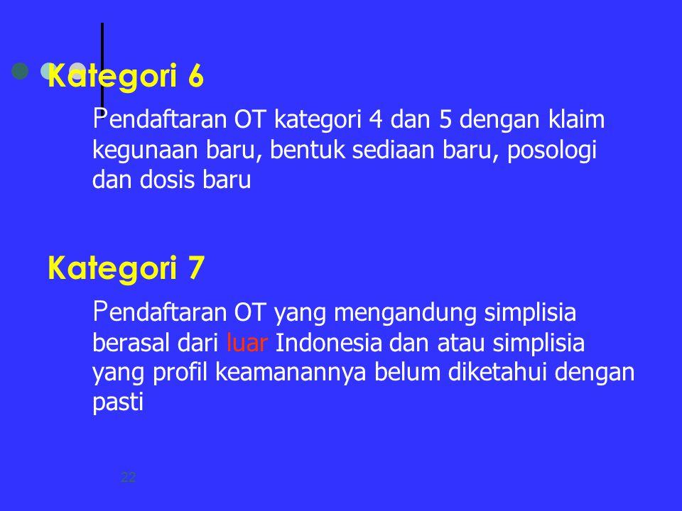 22 Kategori 6 P endaftaran OT kategori 4 dan 5 dengan klaim kegunaan baru, bentuk sediaan baru, posologi dan dosis baru Kategori 7 P endaftaran OT yan