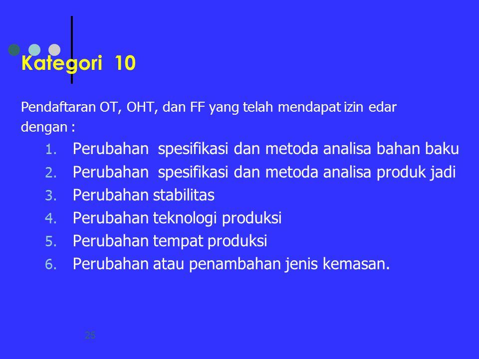 25 Kategori 10 Pendaftaran OT, OHT, dan FF yang telah mendapat izin edar dengan : 1. Perubahan spesifikasi dan metoda analisa bahan baku 2. Perubahan