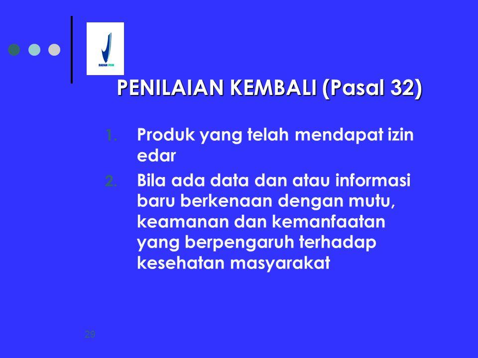 29 1. Produk yang telah mendapat izin edar 2. Bila ada data dan atau informasi baru berkenaan dengan mutu, keamanan dan kemanfaatan yang berpengaruh t